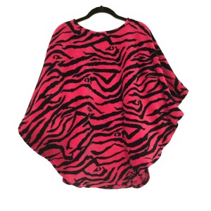 Pink Zebra Warm Fleece Poncho Cape
