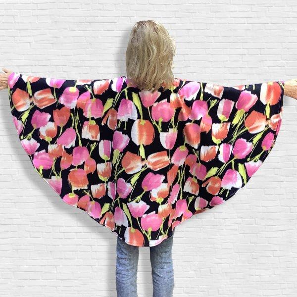 Adult Hospital Gift Fleece Poncho Cape Pink Peach Tulips
