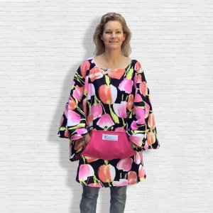 Adult Woman's Hospital Gift Fleece Poncho Cape Ivy Pink Peach Tulips