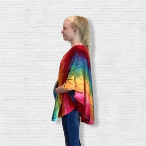 Girl Hospital Gift Fleece Poncho Cape Ivy Bright Mermaid