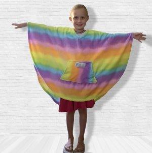 Girl Child Hospital Gift Fleece Poncho Cape Ivy Rainbow