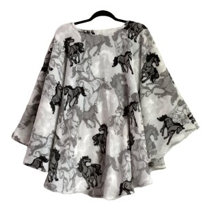 Adult Hospital Gift Fleece Poncho Cape Ivy Horses