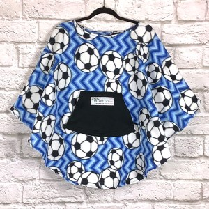 Child Hospital Gift Fleece Poncho Cape Ivy Chevron Soccer