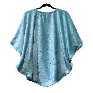 Child Hospital Gift Fleece Poncho Cape Ivy Silver Stars Aqua