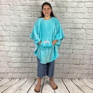 Child Hospital Gift Fleece Poncho Cape Ivy Twinkling Stars Aqua