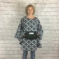 Adult Hospital Gift Fleece Poncho Cape Ivy Black White Medallion