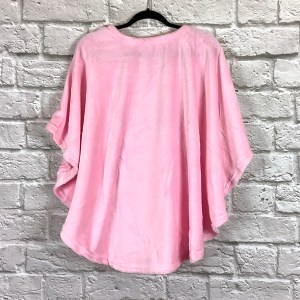Adult Hospital Gift Fleece Poncho Cape Pink