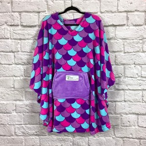 Teen Adult Hospital Gift Fleece Poncho Cape Ivy Purple Mermaid