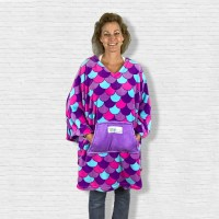 Teen Adult Hospital Gift Fleece Poncho Cape Ivy Purple Mermaid
