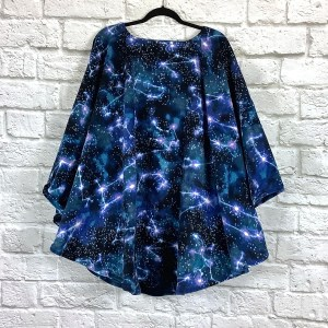 Adult Hospital Gift Fleece Poncho Cape Ivy Starry Night Constellations Blue