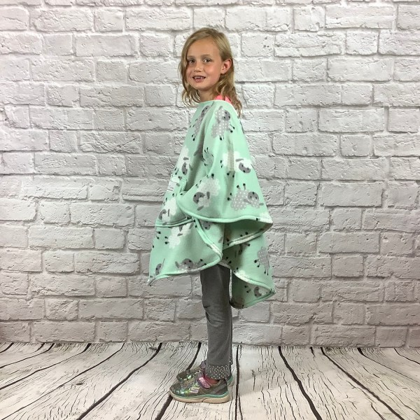 Child Hospital Gift Fleece Poncho Cape Ivy Leaping Lambs Mint