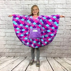 Child Hospital Gift Fleece Poncho Cape Ivy Purple Mermaid