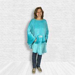 Teen Adult Hospital Gift Fleece Poncho Cape Ivy Aqua Twinkle Stars