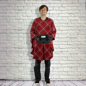Adult Teen Hospital Gift Fleece Poncho Cape Ivy Red Black White Plaid
