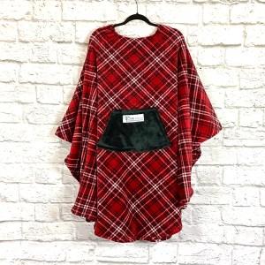 Adult Hospital Gift Fleece Poncho Cape Ivy Red Black White Plaid