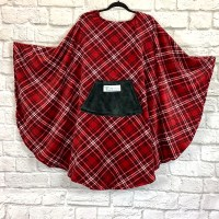 Adult Hospital Gift Fleece Poncho Cape Ivy Red Black White Plaid