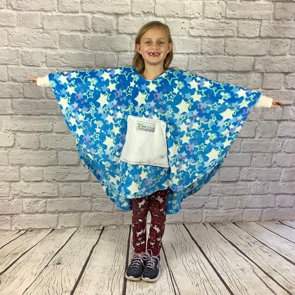 Child Hospital Gift Fleece Poncho Cape Ivy Blue Stars