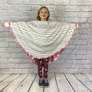 Child Hospital Gift Fleece Poncho Cape Ivy Reversible side Rose Snowflakes