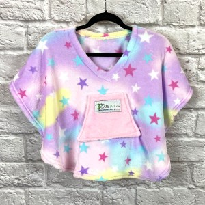 Toddler Hospital Gift Fleece Poncho Cape Ivy Pastel Stars