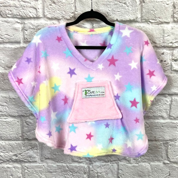 Toddler Hospital Gift Fleece Poncho Cape Ivy Pastel Stars