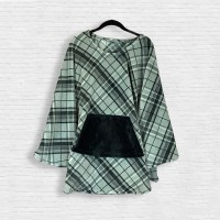 Adult Hospital Gift Fleece Poncho Cape Ivy Gray Black Plaid