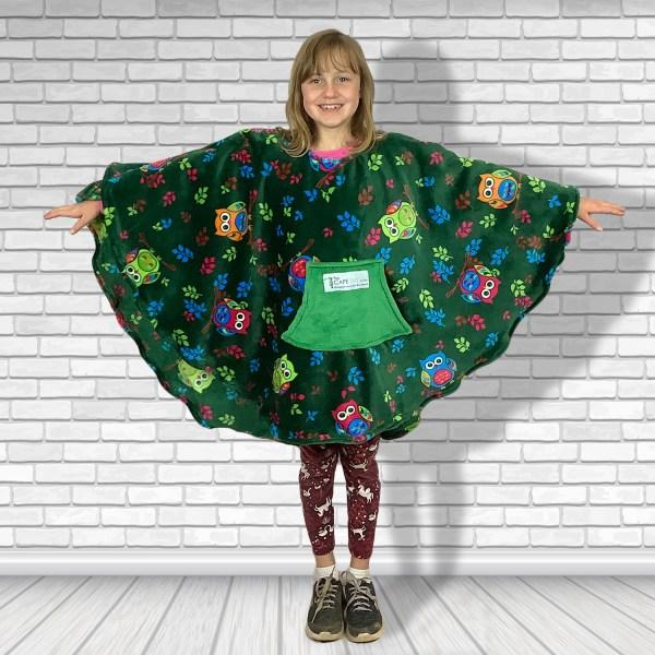 Child Hospital Gift Fleece Poncho Cape Ivy Green Owls