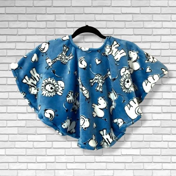Toddler Hospital Gift Fleece Poncho Cape Ivy Chalk Animals Blue