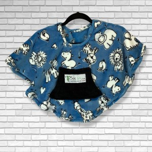 Toddler Hospital Gift Fleece Poncho Cape Ivy Chalk Animals Blue