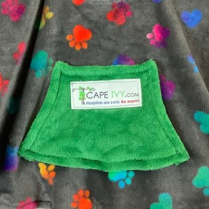 Toddler Hospital Gift Fleece Poncho Cape Ivy Tie Dye Puppy Paws