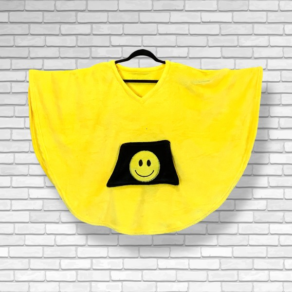 Child Hospital Gift Fleece Poncho Cape Ivy Yellow Smiley Face