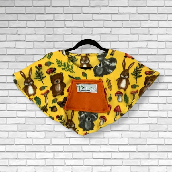 Toddler Hospital Gift Fleece Poncho Cape Ivy Yellow Forest Animals