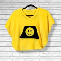 Toddler Hospital Gift Fleece Poncho Cape Ivy Yellow Smily Face