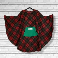 Teen Adult Hospital Gift Fleece Poncho Cape Ivy Christmas Plaid