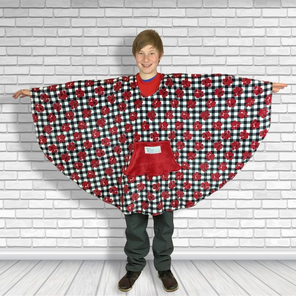 Teen Adult Hospital Gift Fleece Poncho Cape Ivy Puppy Paws
