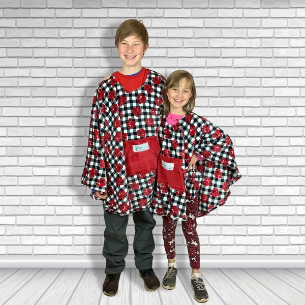 Child Hospital Gift Fleece Poncho Cape Ivy Puppy Paws on Plaid