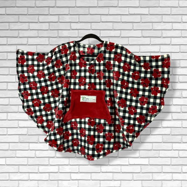 Child Hospital Gift Fleece Poncho Cape Ivy Red Puppy Paws Plaid