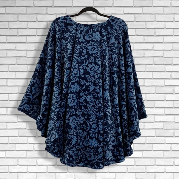 Teen Adult Hospital Gift Fleece Poncho Cape Ivy Floral Midnight Blue