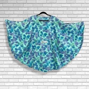 Teen Adult Hospital Gift Fleece Poncho Cape Ivy Butterflies Aqua