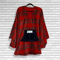 Teen or Adult Hospital Gift Fleece Poncho Cape Ivy Red Stewart Plaid