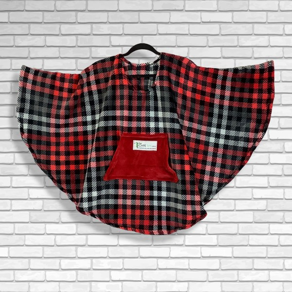 Child Hospital Gift Fleece Poncho Cape Ivy Red Black Gray Plaid