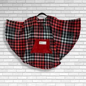 Child Hospital Gift Fleece Poncho Cape Ivy Red Black Gray Plaid