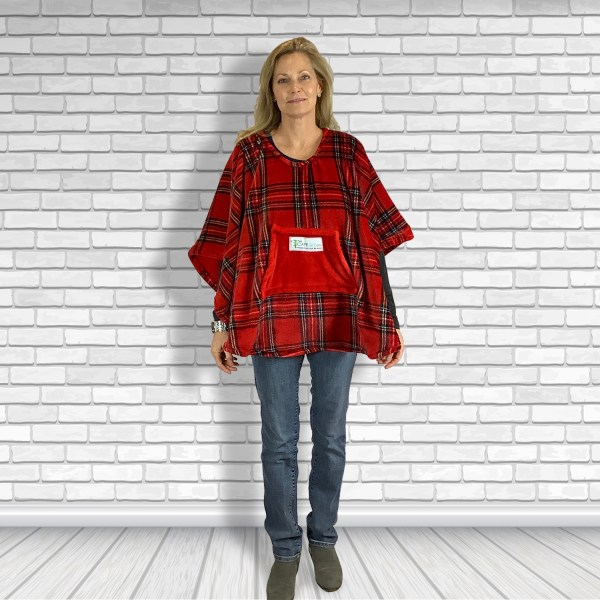 Child Petite Adult Hospital Gift Fleece Poncho Cape Ivy Red Stewart Plaid