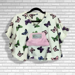 Toddler Hospital Gift Fleece Poncho Cape Ivy Butterflies