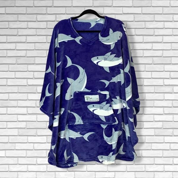 Teen Adult Hospital Gift Fleece Poncho Cape Ivy Sharks Galore