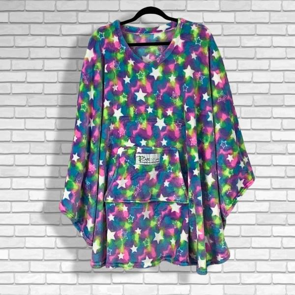 Teen Adult Hospital Gift Fleece Poncho Cape Ivy Multi Color Stars
