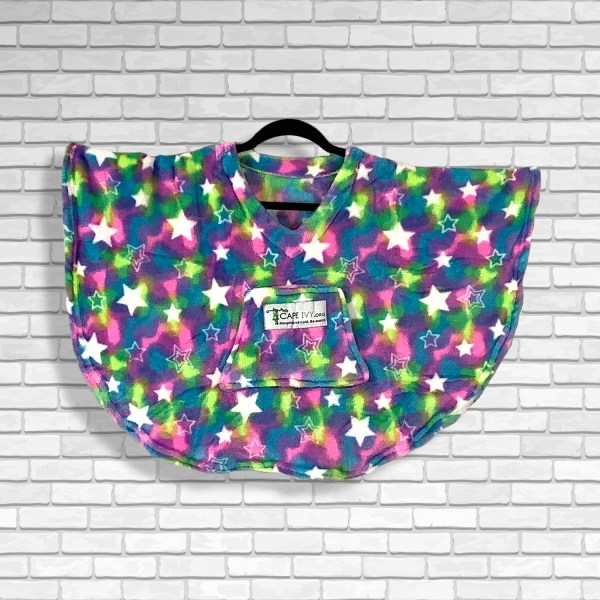 Toddler Hospital Gift Fleece Poncho Cape Ivy Multi Color Stars