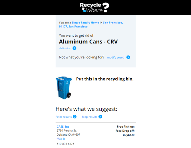 RecycleWhere - New Results Screen