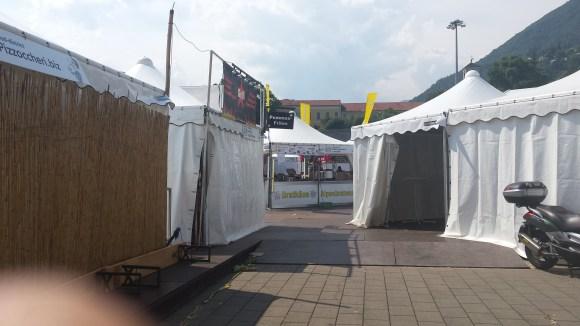 """The tents at """"la rotonda."""""""