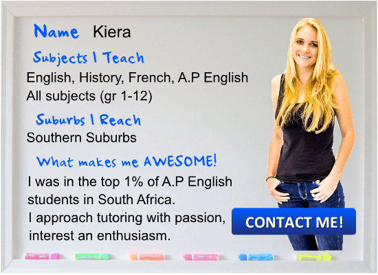 Kiera English Tutor Cape Town teaching English