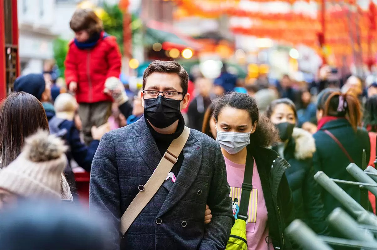 Coronavirus Prevention in London: Public Wearing Masks